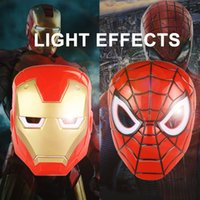Wholesale Multi Effects Light - Zorn Toys-Children's mask Role-playing The Avengers Super hero Iron Man&Spider-Man Luminous Mask  Light Effects wholesale