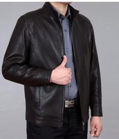 Wholesale Genuine Leather Jackets For Men - Wholesale-Brand Men's Autumn&Winter Casual Stand Collar 4XL Leather Jacket Man Lether Jackets For Men Jaquetas De Couro Masculina
