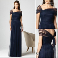 Wholesale Dessy Bridesmaids - New Arrival Dark Navy Bridesmaid Dresses Stretch Tulle Cap Sleeves Full Length Pleated Dessy