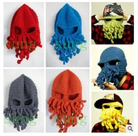Wholesale Knitted Octopus Hat - Unisex Octopus Beanie Squid Caps men Tentacle Knitted Wool Ski Face Mask Hats Sea Monster Crochet Beanie Cthulhu Octopus Caps Halloween DHL