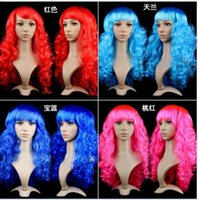 Wholesale Cheap Dresses For Night - women Anime Cosplay long Wigs Multicolor Cheap Synthetic Hair Wig Cosplay Colored Costume ladies dress Deep Wave Wigs For Party club night