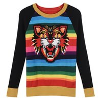 Wholesale Rainbow Stripe Sweater - Free Shipping 2017 Autumn Tiger Rainbow Stripe Print Autumn Wome's Pullovers Brand Same Style Women's Sweaters 07091906