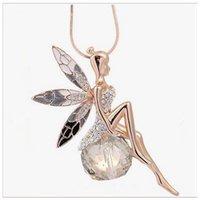 bijoux à papillon achat en gros de-Ailes d'ange exquis ailes de papillon cristal de fée strass pendentif collier chaîne de chandail compatible avec Pandora bijoux