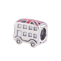 Wholesale Enamel Bus Charm - crown silver enamel london bus charm 925 ale sterling silver charms loose beads diy jewelry wholesale for thread bracelet DC103