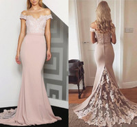 Wholesale elastic satin dress junior bridesmaid - Peach Off-Shoulder Mermaid Bridesmaid Dresses Lace Backless 2017 Junior Maid of Honor Dress For Weddings Vintage Formal Prom Party Gowns