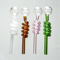 Wholesale Pc Types - 20 Pcs Pyrex Glass Pipes Oil Rig Burner Pipes Straight Type Glass Oil Burner Pipes 9 Different Colors SW06