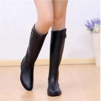 Wholesale- Retail Sexy Ladies Joelho High Flats Buckle Botas impermeáveis ​​Wellies Mulher Autumn Fashion Black Womens Wearproof Slip Boot Shoes