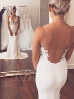 Wholesale Sleeveless Illusion Lace - Sheer Illusion Back Appliques Lace Mermaid Trumpet Wedding Dresses Sleeveless Sexy Backless Bridal Dresses Sweep Train Wedding Gowns