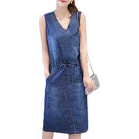 9502caa4c6c Wholesale- Summer Denim Dress Women Plus Size Clothing Sleeveless Jeans  Shirt Dress Female Casual V Neck Midi Beach Dresses Vestidos