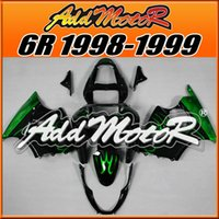Wholesale Best Kawasaki - Fairings Addmotor NewDesign Compression Mold ABS For Kawasaki ZX6R ZX 6R 1998-1999 98 99 Flames Green Black K6807 +5 Free Gifts Best Choice