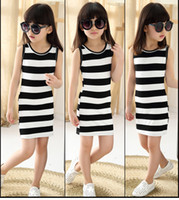 Wholesale Girl Stripe Braces Skirt - Children's clothing 2016 spring and autumn girls cotton stripe braces dress one-neck dress A-Line dress Vest skirt for 3-12 years old baby.