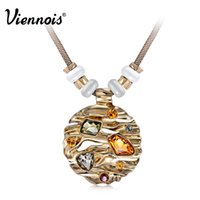 Hot Viennois Coffee Gold Necklace Collier pendentif rond pour femme Large Crystal Multicolor Austrian Rhinestone Opal Stone Jewelry