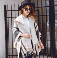 Wholesale Woman Cloaked White - Fashion Womens Poncho Wraps Hooded Cape Coats Cardigan Batwing Pashmina Shawl Scarves Ladies Winter Cloak Coats Tassel Outwear