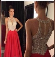 Wholesale Crystals Cocktail Dresses - New Arrival free shipping Prom Dresses 2016 O-Neck Sweep Train Chiffon with Crystal Long Formal Gown Beaded Party Evening Dresses