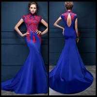 Wholesale Tailor Mermaid Dress - Luxury Dubai Arabic Mermaid Evening Dresses Dubai Formal Royal Blue Satin Prom Gown Tailored Moroccan Kaftan