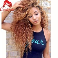 Wholesale Blonde Curly Lace Front Human - Honey Blonde Full Lace Human Hair Wigs Virgin Brazilian Kinky Curly Lace Front Wig Glueless Full Lace Wigs Human Hair Color #30