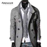 Wholesale Single Button Pea Coat - Fall-New 2015 Men's Woolen Coat Solid Black Warm Long Windbreaker Double Breasted Overcoat Man Pea Coat Abrigos Hombres Invierno