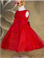 kırmızı payet çiçek kız elbisesi toptan satış-2016 Yeni Kırmızı Pullu Sevimli Elbiseler Çiçek Kız Elbise Çiçek Kız Pageant elbise Çocuk Resmi Giyim