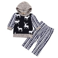 Wholesale Leopard Toddler Coat - INS Baby Boys kids xmas deer long sleeve hoody coat pants toddler sport suit infant tracksuit newborn suit casual clothing set