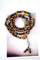 Wholesale Tiger Charm Chain Gold - Natural yellow tiger eye stone bracelet 108 beads beads bracelet multi-layer men and women Buddha natural crystal bracelet hand string x47