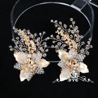 pinzas para el cabello de flores de oro al por mayor-beijia hoja de oro con cuentas de la flor pinza de pelo conjunto accesorios de la boda hechos a mano nupcial joyería del pelo clips mujeres Headwear