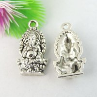 Wholesale silver ganesha resale online - 20pcs Antique Silver Ganesha Charm Pendant Jewellry Finding mm jewelry making