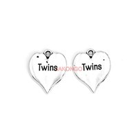 Wholesale Twin Charms For Bracelets - 20pcs Tibetan Silver Plated Twins Heart Charms Pendants for Necklace Bracelet Jewelry Making DIY Handmade 21x17mm