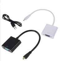 ipad vídeo cabo hdmi venda por atacado-1080 p HDMI para VGA conversor de vídeo adaptador com 3.5mm jack linhas de cabo de áudio Converter preto branco para xbox 360 PS3 pc360 sacos de opp Novo