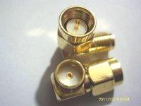 Wholesale Sma Angle - 100pcs lot gold SMA male to SMA female right angle in series RF connector