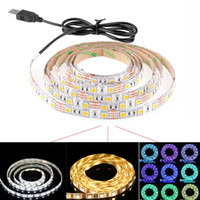 Wholesale Led Strip Lights Backgrounds - 50CM 1M 2M USB LED Strip Light 5V 5050 3528 SMD IP65 Waterproof RGB Warm   Cool White Flexible TV Background Lighting Strip Christmas Light