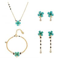 Wholesale mix match earrings - High Quality Lucky Clover Earring Bracelet Necklace Jewelry Sets For Women Lady Party Accessories Elegant All-match