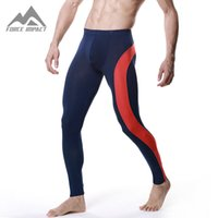 Wholesale Long John Thermal Wear - Wholesale-New Soft Modal Thermal Long Johns Pants Sexy Patch Fitness Long Warm Pants Autumn Winter Bottom Home Sleep Wear DT05