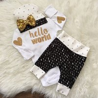 Wholesale Long Sleeve Bodysuit 12 Months - ins hot selling children spring & autumn clothes sets infant baby long sleeve bodysuit+matching pants+headbands three piece sets