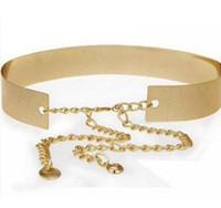Wholesale Ladies Gold Sequin Dresses - Fashion Hot Women Ladies Metal Sequins Waist Belt Dress Band Design Wide Waist Accessories Chain Gold Color