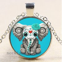 Wholesale bronze elephant necklace for sale - Group buy 10pcs Sugar Skull Baby Elephant Chain Necklace Christmas Birthday Gift Cabochon Glass Necklace Silver Bronze Black Fashion Jewelry Pendant