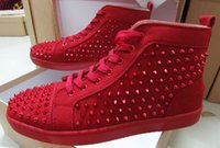 Red Pink Blue Suede High Top Studded Spikes Casual Flats Luxo Red Bottom Shoes Brand New para homens e mulheres Party Designer Sneakers