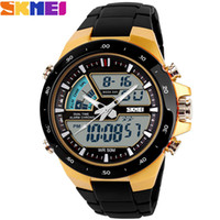 Wholesale Skmei Waterproof - SKMEI Brand Men Sport Watches dual display Digital analog quartz LED Wristwatches rubber strap swim waterproof creative watch