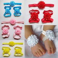Wholesale Girls Sandals Flowers - 2016 baby barefoot sandals and headbands set kid shoes Multilayers Flowers fabric flowers for headband girls hair accessories 20pcs lot