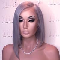 Wholesale Grey Lace Front Wigs - Human Hair Bob Style Grey Lace Front Wig Short Bob Glueless Lace Front Human Hair Wig Full Lace Wig For Black Women
