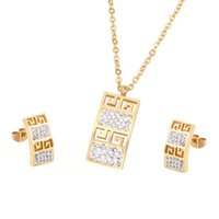 Wholesale 18krgp Necklace - Brand Design 18K Rose Gold Plated Rome Style Austrian Crystal G Design Woman Jewelry Sets Necklace Earrings Stud Wholesale 18krgp