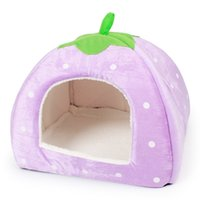 Wholesale Wholesale Dog Soft Houses - Strawberry Dogs Bed Green Leaf Handle Dog Kettle Foldable Soft Winter Small Dog House 4 Colors Cute Dog House L
