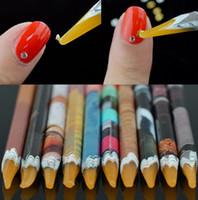Wholesale resin adhesives - Pro Crystal Rhinestones Picker Self Adhesive Resin Picker Pencil Nail Art Gem Crystal Pick Up Tool Wax Pen Long Pencil Craft Decor Tools
