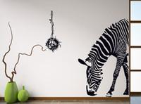 pau de zebra venda por atacado-Zebra preto diy adesivos de parede parede poster vara de parede arte abstrata decoração animal adesivos de decoração para casa