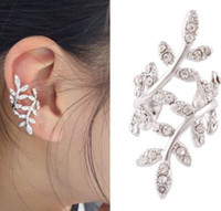Wholesale South Korean society full of exaggerated drill Lovely plum blossom leaf shapeNo ear hole hanging ear stud earrings