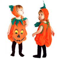 Wholesale Masquerade Hats - Halloween costume children clothes performances pumpkin suits with hat Masquerade Cosplay Clothing free shipping in stock