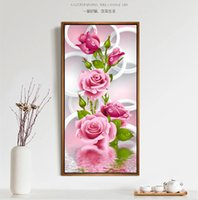 Wholesale Decoration Flower Oil Painting - 5D DIY Diamonds Embroidery Water Rose Flower Round Diamond Painting Cross Stitch Kits Diamond Mosaic Home Decoration 40*80cm