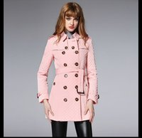 Wholesale Blue Trench Coat Women Sale - Sale Winter New Women's Trench Coats Fashion Brand CLASSIC Lapel MIDDLE LONG TRENCH COAT DOUBLE BREASTED Cotton Jacket Coat waterproof