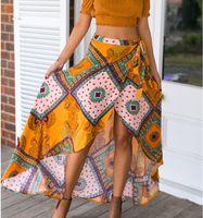 Wholesale Flare Maxi Skirt - 2016052941 Boho print bow asymmetrical women skirt long Summer style beach maxi skirt Vintage cotton loose flare skirts new