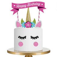 ingrosso forniture gratuite per bambini-Unicorn Happy Birthday Cake bandiera Decorazione di compleanno Stand bandiera Bambini Baby Figure Toy Baby Shower Forniture 10 * 15 * 1 cm Spedizione gratuita