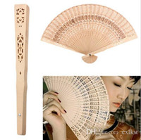 Wholesale Wholesale Carvings - Retro Hollow Folding Wooden Hollow Carved Foldable Hand Fan Gifts Brand New Good Quality Free Shipping